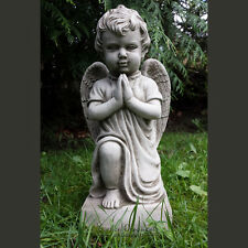 PRAYING CHERUB Hand Cast Stone Garden Ornament Statue Grave Memorial ⧫onefold-uk