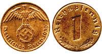 Nazi German Bronze 1 Reichspfennig Coin with Swastika