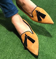Plus Size Women Tassel Flats Pointed Toe Slip On Brogue Loafer Casual Lady Shoes