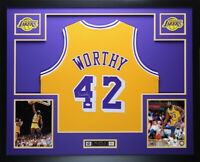 James Worthy Autographed and Framed Gold Lakers Jersey Auto JSA COA (D1-L)