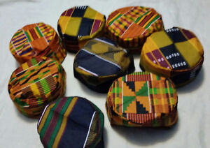 Men African Kente Print Cap Traditional Dashiki Kufi Hat Cap Free Size