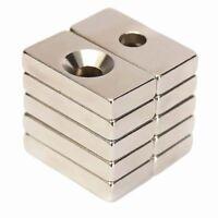 10pcs  Starke Neodym Magnete N50 20x10x4mm mit Senkung Bohrung 4mm Quader Magnet