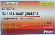 NASAL DECONGESTANT Non-Drowsy Generic Sudafed Phenyleprphrine 10 mg 24 Tablets