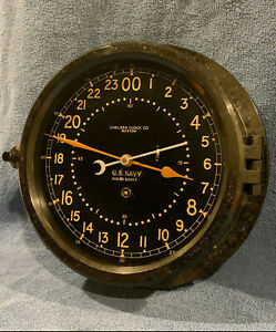 """** Fully Restored** 1942 WWII US NAVY 24hr. Chelsea Ships Clock 8.5"""" Dial"""