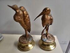 Pr Antique Egret Heron Wetlands Marsh Shore Coastal Wading Bird Bronze Statues
