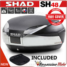 SHAD SH48 TITANE TOP-CASE VALISE 48L MOTO / MAXI-SCOOTER COVER CARBON ET PLATINE
