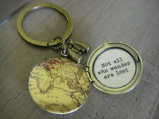 Map locket key chain Not all who wander are lost key chain key ring graduation g