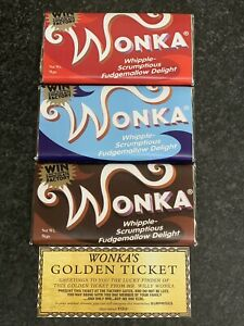 3X Willy Wonka Chocolate 2005 Selection BIG Bars Gift Novelty Golden Ticket 100g
