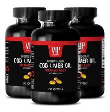 Fish oil - NORWEGIAN COD LIVER OIL - Mental alertness supplements - 3 Bottles