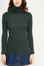 LADIES TOP BRANDED QUALITY POLO TURTLE ROLL HIGH NECK STRETCH RIBBED PARTYTOPS