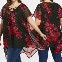 Cool Women's Plus Size Summer Chiffon Blouse Short Sleeve Shirt Top Clothes US