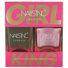 Nails Inc Girl King Nail Polish Duo - Khaki Green & Metallic Pink