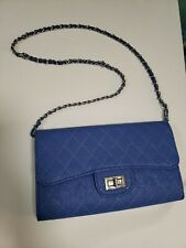 Clutch With metal Chain Color blue