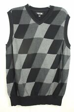 Apt 9 Mens Size Large Black Gray Argyle Print Classic Sweater Vest Top
