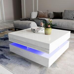 Modern RGB LED Light Coffee Tea Table High Gloss Living Room Furniture White