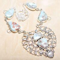 "Handmade Pale Blue Caribbean Larimar 925 Sterling Silver 19.5"" Necklace #N01319"