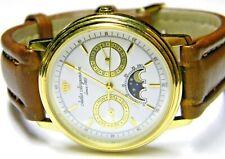 mens Jules Jurgensen Triple Calendar Moonphase Day Date gold plated white watch