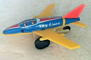 "VTG  3.5"" TIN Toy Plane SKY LINES S 353 Metal Plastic FRICTION AIRPLANE JAPAN"