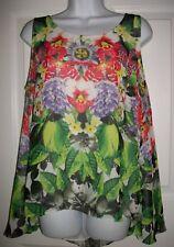Jennifer Lopez Women's Green & Red Floral Lined Tank Top Shirt Size L