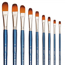 Filbert Paint Brushes Set, 9 Pcs Professional Artist Brush for Acrylic Oil Long