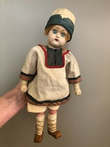 "Rare 1910-20 Antique Russian DUNAEV 12""-13"" Doll in Native Costume"