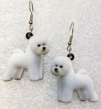 Bichon Frisé Dog Double-Sided Silver Hook Earrings Acrylic Jewelry
