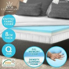 NEW Queen Size 8cm Thick Cool Gel Memory Foam Mattress Topper Underlay Cover