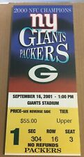 "2001 Mini-Mega Ticket New York Giants vs Green Bay Packers 14 x 6"" DM1"