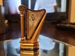 Bulova Miniature Brass Harp Clock B0537