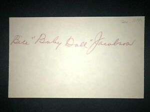 """1915 TIGERS: """"Baby Doll"""" Jacobson, SIGNED 3x5 (BSJ), D.1977"""
