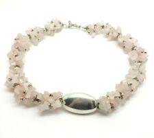 """Huge Rose Quartz Beads Sterling Silver 925 Necklace 136g 18.25"""" DWK981"""
