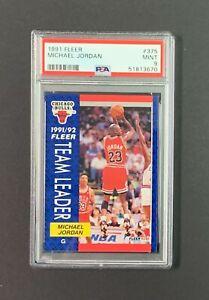 1991 Fleer Michael Jordan #375 Team Leader PSA 9 MINT Chicago Bulls HOF