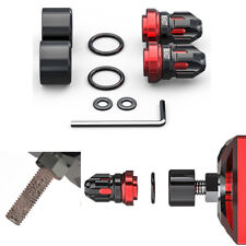 2x Black+Red Cnc Motorcycle Screw Cap Fork Frame Nuts Cover Rust Protector 8mm(Fits: Bear Bones)