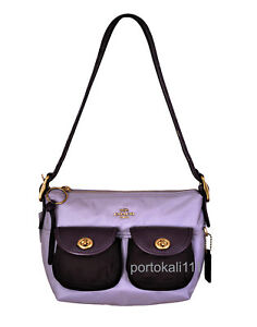 Coach New Women's Cargo Shoulder Bag in Lilac Multi Nylon Leather NWT