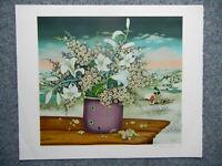 Svegovic-Budaj Farblithographie: Winterblumen signiert + nummeriert XXXII / XXXV
