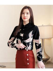 Print Long Sleeve Black Shirt Top Black Blouse Women Japanese Style Crane
