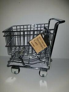 Mini Chrome Shopping Cart World Market basket metal Trolley decor