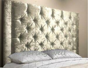 "Stylish Crushed Velvet Jaris with Diamonds Buttons Headboard 26""/30''/36''/44''"
