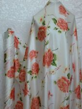 100% Silk Charmeuse Fabric Peach Flower White Per Yard