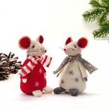 2 Scandinavian Felt Mice with Stripe Scarves #8395