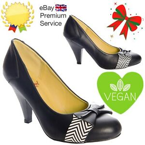 Banned Apparel Retro 60s Black Touch Of Grace Vegan Pumps Shoes With Cute Bow
