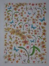 papier découpage technique serviette (thème: fleurs orchidées, papillon) 68X48cm