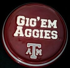 "Texas A&M - ""GIG'EM AGGIES"" - Logo Ceramic Mini Wall/Desk Plaque 5.25"" NIB"