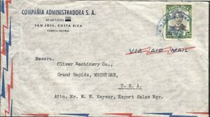 J) 1949 COSTA RICA, FIFTY-NINTH OF THE NATIONAL THEATER, AIRMAIL, CIRCULATED COV