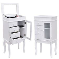 White Wood Standing Mirrored Jewelry Armoire Newly Storage Cabinet W/Mirror