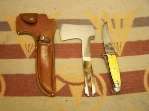 WESTERN SHEATH KNIFE & INTERCHANGEABLE HATCHET BOULDER COLO LOOKS UNSHARPENED
