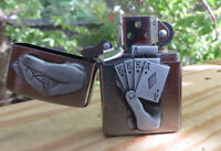 ZIPPO COLLECTABLE TRICK FULL HOUSE EMBLEM LIGHTER WITH CHROME FINISH NEW IN BOX
