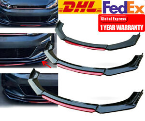 Glossy Black Universal Front Bumper Lip Spoiler Splitter Protector Kit Black+Red