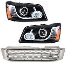 LED DRL Projector Headlights&Grille For 01-07 TOYOTA HIGHLANDER Land Rover Type