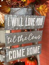 """""""Cows Come Home"""" Tin Sign Modern Vintage Home Decor"""
